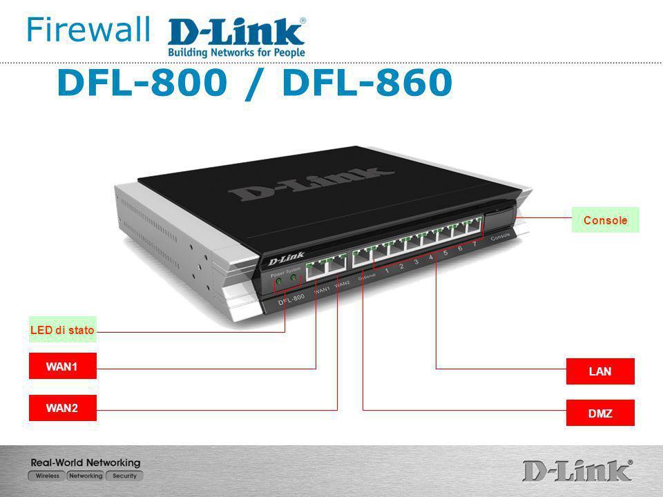 WAN1 WAN2 LAN DMZ Console DFL-800 / DFL-860 LED di stato Firewall