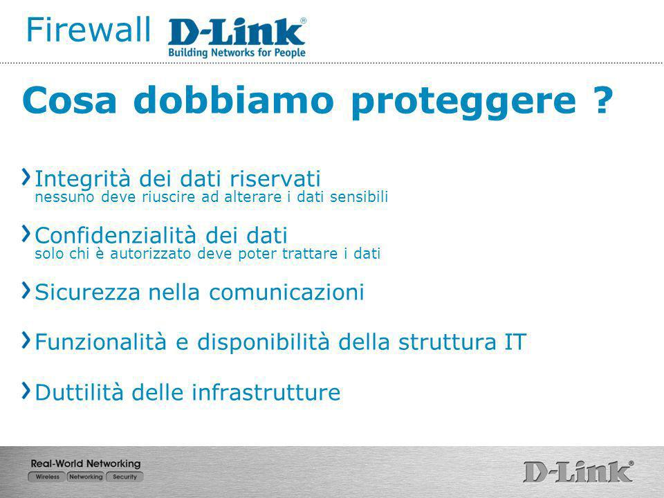 Firewall Cosa dobbiamo proteggere ? Integrità dei dati riservati nessuno deve riuscire ad alterare i dati sensibili Confidenzialità dei dati solo chi