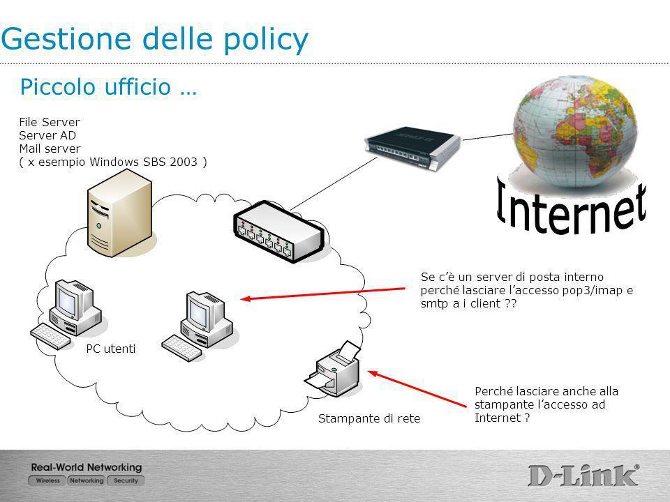 Gestione delle policy Piccolo ufficio … File Server Server AD Mail server ( x esempio Windows SBS 2003 ) Stampante di rete PC utenti Perché lasciare a