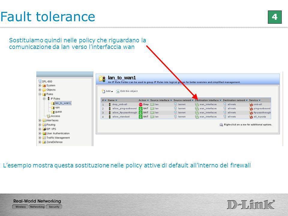 Fault tolerance 4 Sostituiamo quindi nelle policy che riguardano la comunicazione da lan verso linterfaccia wan Lesempio mostra questa sostituzione ne
