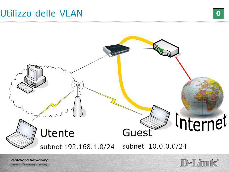 0 Guest subnet 10.0.0.0/24 Utente subnet 192.168.1.0/24