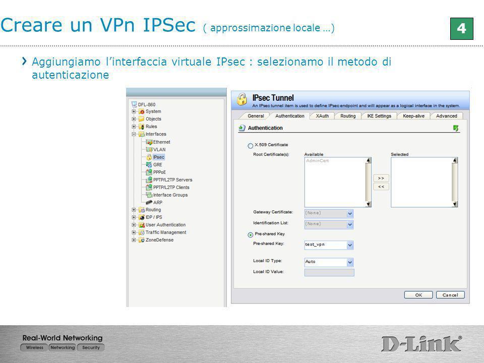 Creare un VPn IPSec ( approssimazione locale …) 4 Aggiungiamo linterfaccia virtuale IPsec : selezionamo il metodo di autenticazione