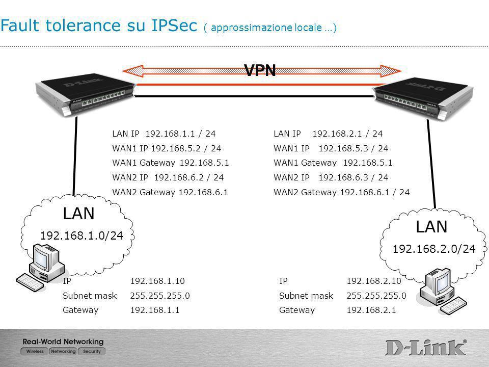 Fault tolerance su IPSec ( approssimazione locale …) LAN 192.168.1.0/24 IP 192.168.1.10 Subnet mask 255.255.255.0 Gateway192.168.1.1 LAN IP 192.168.1.