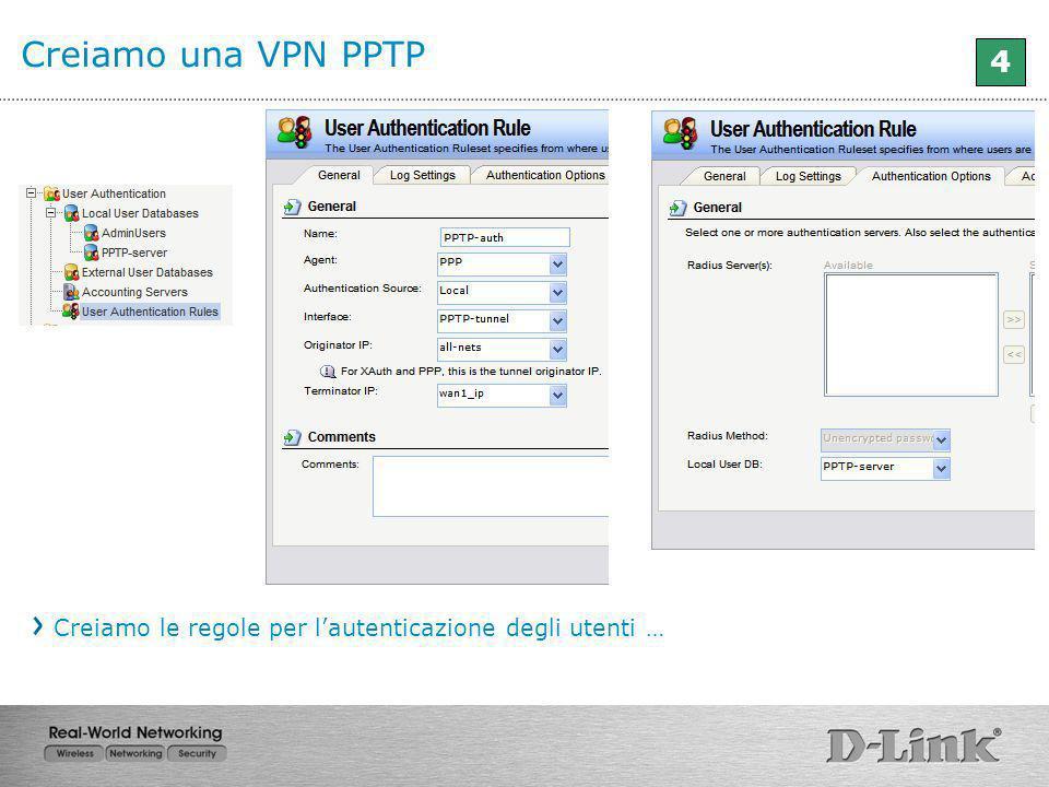 Creiamo una VPN PPTP 4 Creiamo le regole per lautenticazione degli utenti …