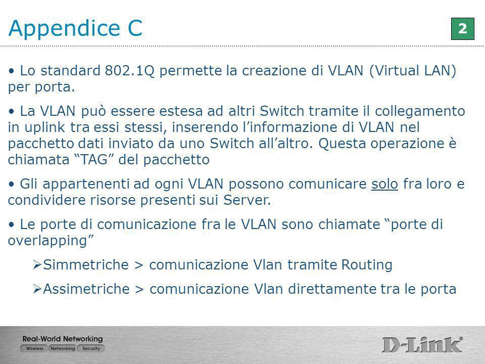 Lo standard 802.1Q permette la creazione di VLAN (Virtual LAN) per porta. La VLAN può essere estesa ad altri Switch tramite il collegamento in uplink