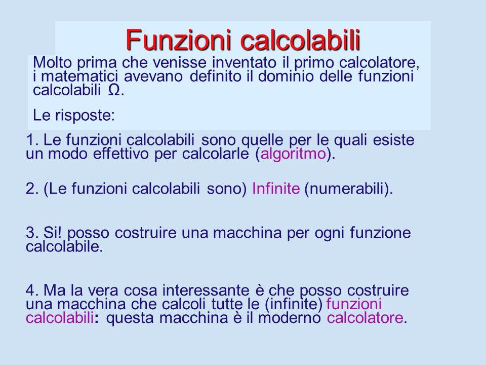 Informazione automatica Sorgono spontanee alcune domande: 2. Quante (diverse) sono le funzioni calcolabili? 3. Ma quali sono le funzioni che una macch