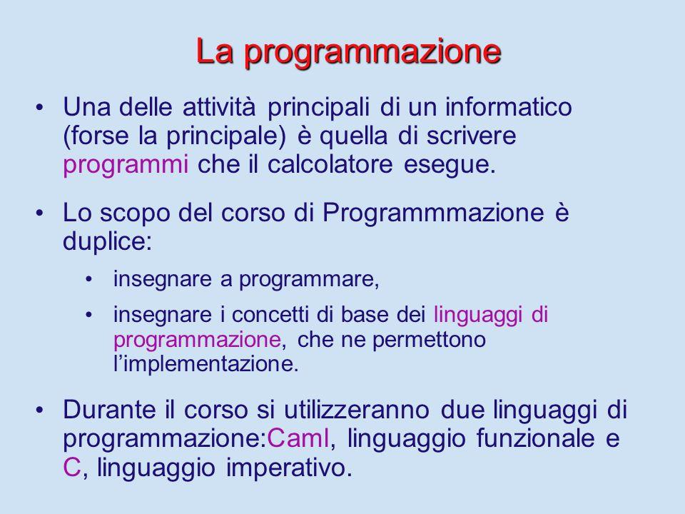 Come si descrivono le funzioni? Linguaggi per descrivere funzioni: - - Detti linguaggi di programmazione - - Sono formalismi, con sintassi e semantica