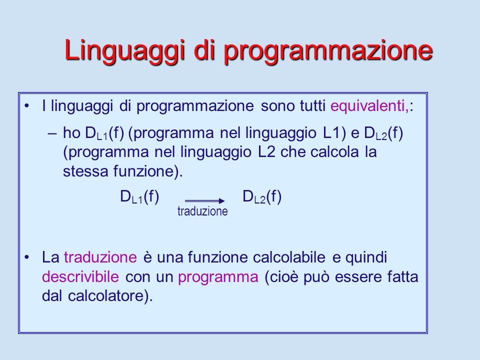 La programmazione Una delle attività principali di un informatico (forse la principale) è quella di scrivere programmi che il calcolatore esegue. Lo s