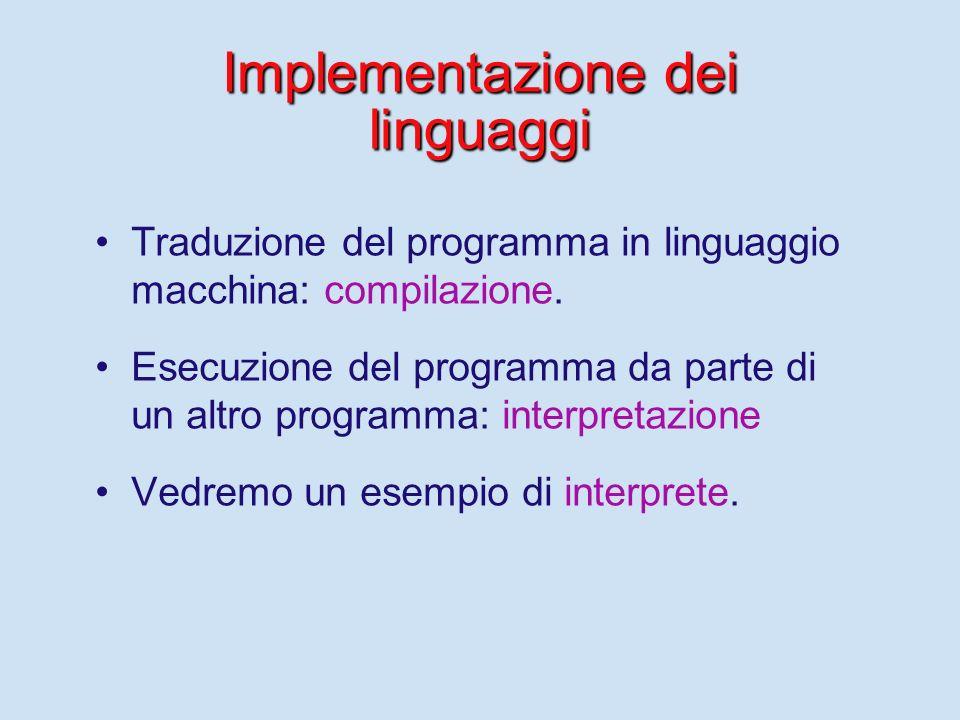 Traduzione del programma Tutti i linguaggi (così detti) ad alto livello devono essere tradotti in linguaggio macchina per poter essere eseguiti. Fortu