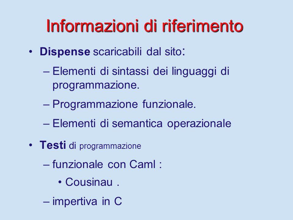 Consigli 1) 1)Consultare spesso il sito del corsi su cui vengono mantenute le informazioni: http://www.di.unipi.it/~occhiuto/Programmazione.html http: