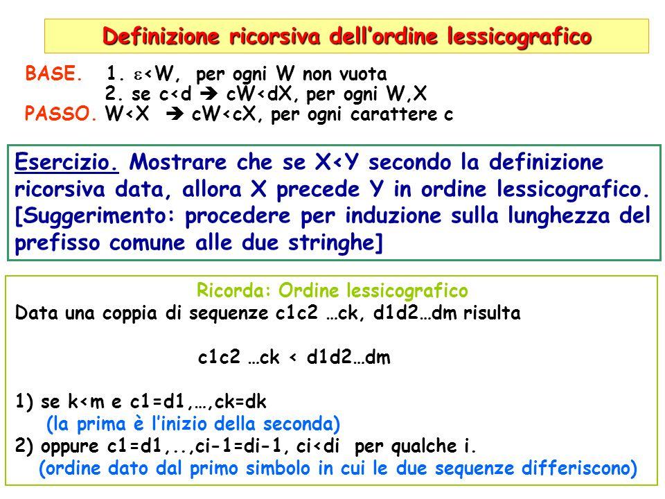 MERGE (di due liste ordinate L 1,L 2 M) L 1 =(1,2,7,7,9), L 2 =(2,4,7,8), M=(), minimo=1 in L 1 L 1 =(2,7,7,9), L 2 =(2,4,7,8), M=(1), minimo=2 in L 1 L 1 =(7,7,9), L 2 =(2,4,7,8), M=(1,2), minimo=2 in L 2 L 1 =(7,7,9), L 2 =(4,7,8), M=(1,2,2), minimo=4 in L 2 L 1 =(7,7,9), L 2 =(7,8), M=(1,2,2,4), minimo=7 in L 1 L 1 =(7,9), L 2 =(7,8), M=(1,2,2,4,7), minimo=7 in L 1 L 1 =(9), L2=(7,8), M=(1,2,2,4,7,7), minimo=7 in L 2 L 1 =(9), L2=(8), M=(1,2,2,4,7,7,7), minimo=8 in L 1 L1=(9), L2=(), M=(1,2,2,4,7,7,7,8), L2 vuota Aggiungi L 2 ad M.