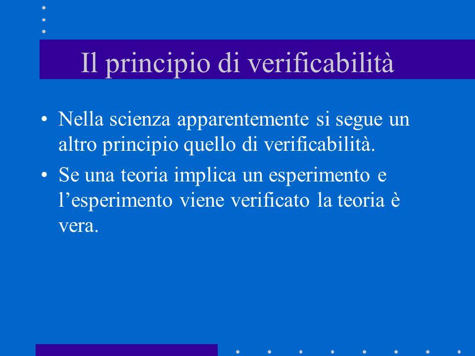 Il principio di verificabilità Nella scienza apparentemente si segue un altro principio quello di verificabilità. Se una teoria implica un esperimento