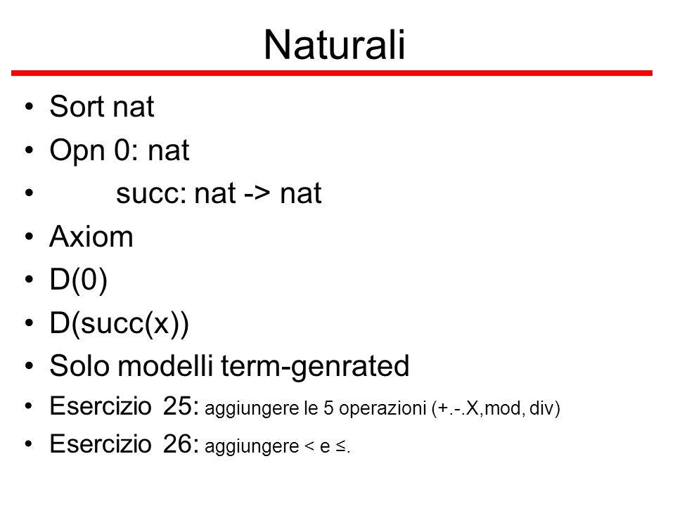 Naturali Sort nat Opn 0: nat succ: nat -> nat Axiom D(0) D(succ(x)) Solo modelli term-genrated Esercizio 25: aggiungere le 5 operazioni (+.-.X,mod, di