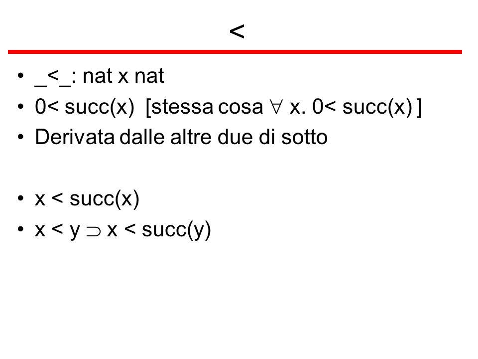 < _<_: nat x nat 0< succ(x) [stessa cosa x. 0< succ(x) ] Derivata dalle altre due di sotto x < succ(x) x < y x < succ(y)
