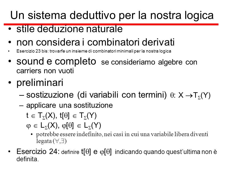 Un sistema deduttivo per la nostra logica stile deduzione naturale non considera i combinatori derivati Esercizio 23 bis: trovarfe un insieme di combi