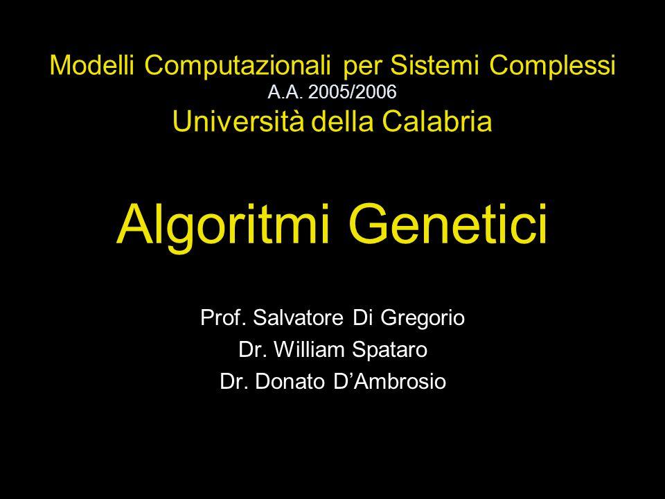 Algoritmi Genetici Prof. Salvatore Di Gregorio Dr. William Spataro Dr. Donato DAmbrosio Modelli Computazionali per Sistemi Complessi A.A. 2005/2006 Un