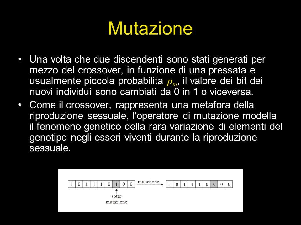 Mutazione Una volta che due discendenti sono stati generati per mezzo del crossover, in funzione di una pressata e usualmente piccola probabilita p m,