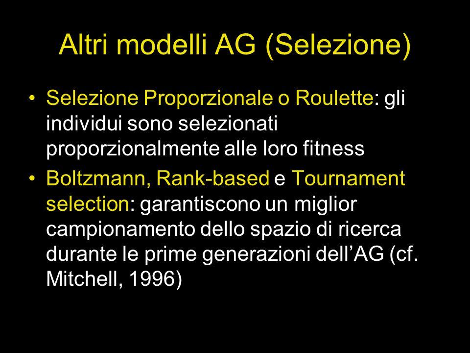 Altri modelli AG (Selezione) Selezione Proporzionale o Roulette: gli individui sono selezionati proporzionalmente alle loro fitness Boltzmann, Rank-ba