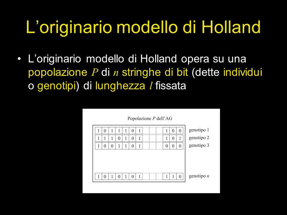 Loriginario modello di Holland Loriginario modello di Holland opera su una popolazione P di n stringhe di bit (dette individui o genotipi) di lunghezz