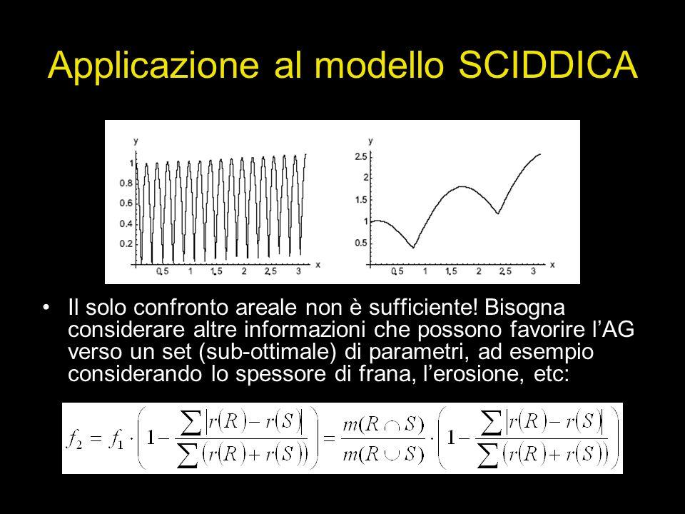 Applicazione al modello SCIDDICA Il solo confronto areale non è sufficiente! Bisogna considerare altre informazioni che possono favorire lAG verso un