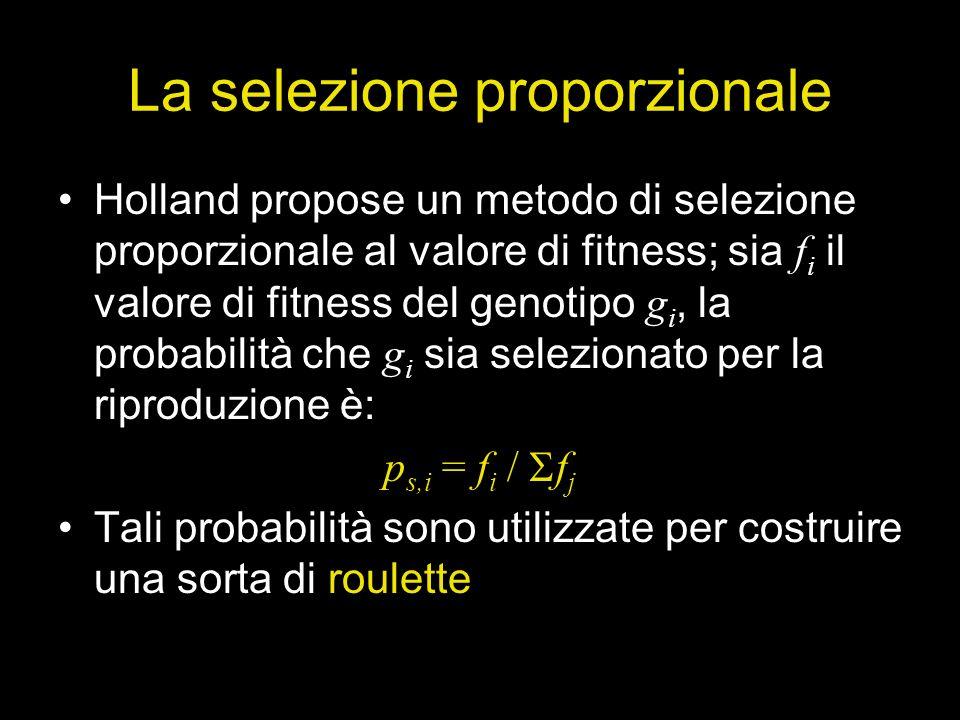 La selezione proporzionale Holland propose un metodo di selezione proporzionale al valore di fitness; sia f i il valore di fitness del genotipo g i, l