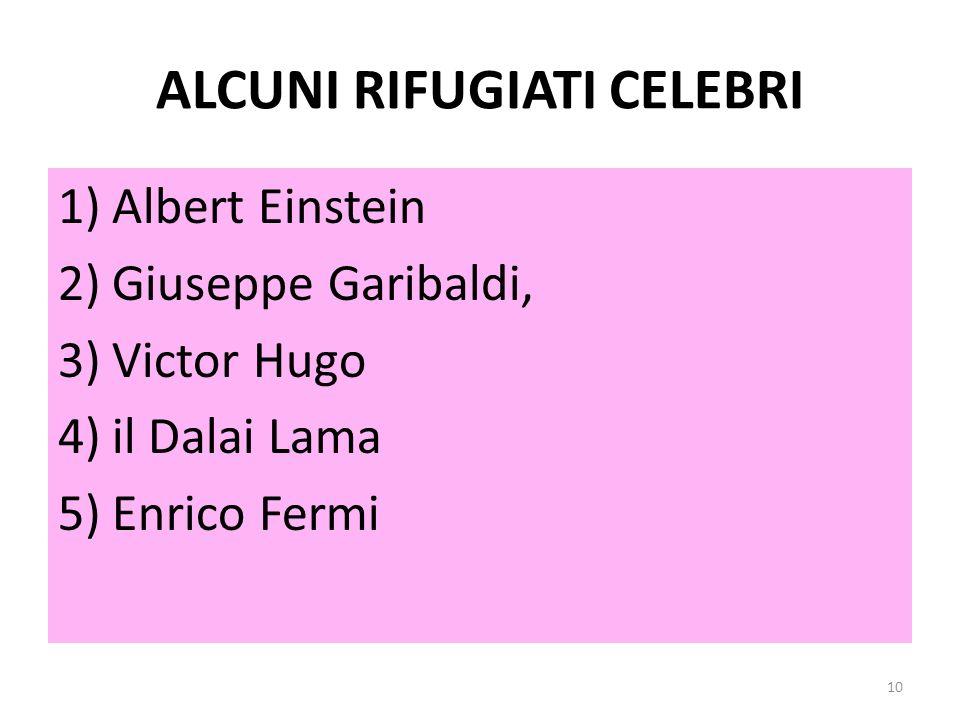 ALCUNI RIFUGIATI CELEBRI 1)Albert Einstein 2)Giuseppe Garibaldi, 3)Victor Hugo 4)il Dalai Lama 5)Enrico Fermi 10