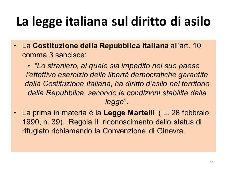 La legge italiana sul diritto di asilo La Costituzione della Repubblica Italiana allart. 10 comma 3 sancisce: Lo straniero, al quale sia impedito nel