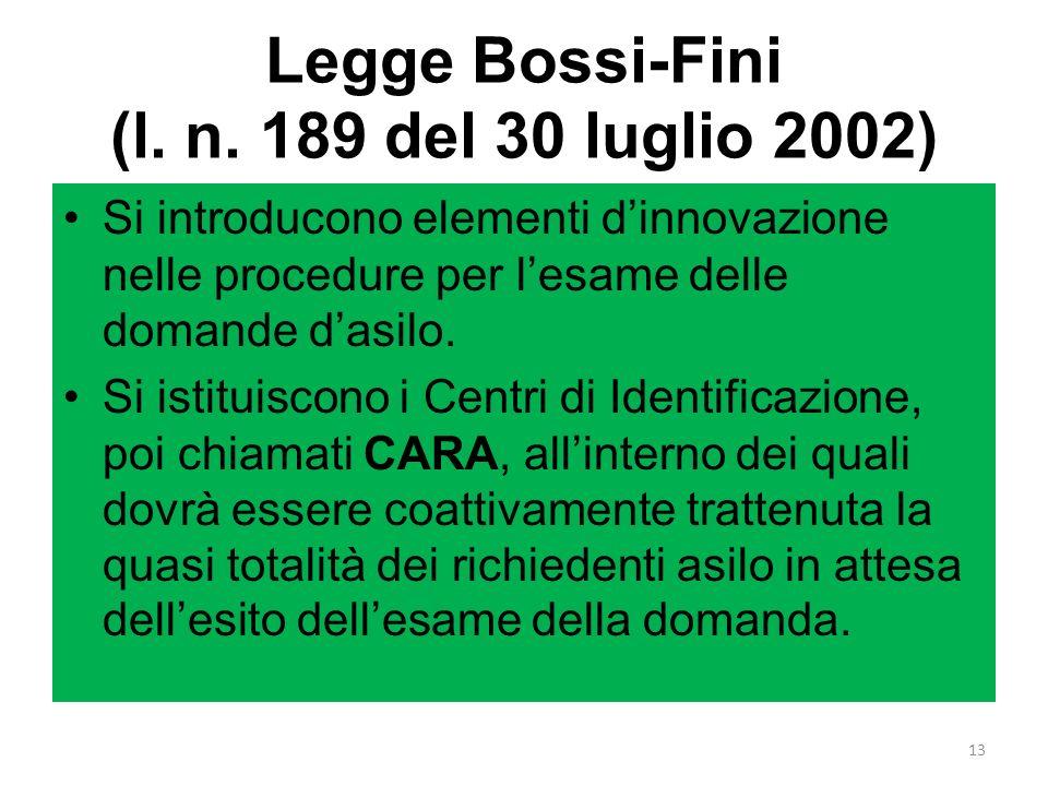 Legge Bossi-Fini (l. n. 189 del 30 luglio 2002) Si introducono elementi dinnovazione nelle procedure per lesame delle domande dasilo. Si istituiscono