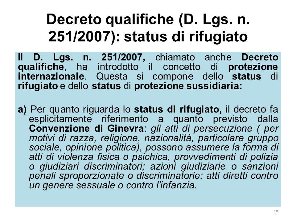 Decreto qualifiche (D. Lgs. n. 251/2007): status di rifugiato Il D. Lgs. n. 251/2007, chiamato anche Decreto qualifiche, ha introdotto il concetto di