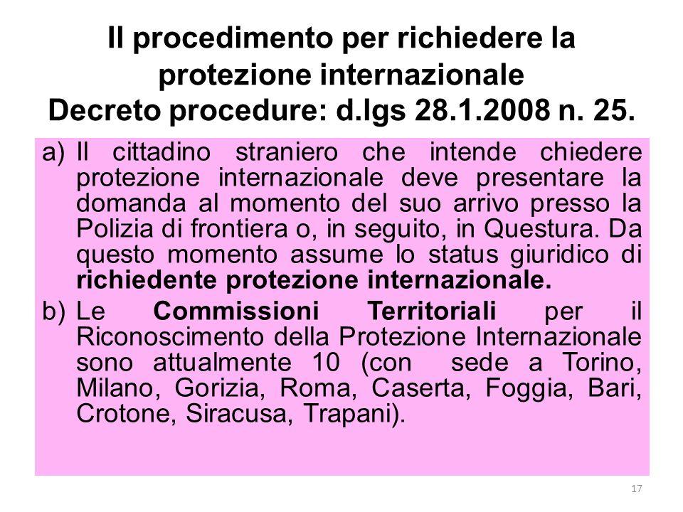 Il procedimento per richiedere la protezione internazionale Decreto procedure: d.lgs 28.1.2008 n. 25. a)Il cittadino straniero che intende chiedere pr