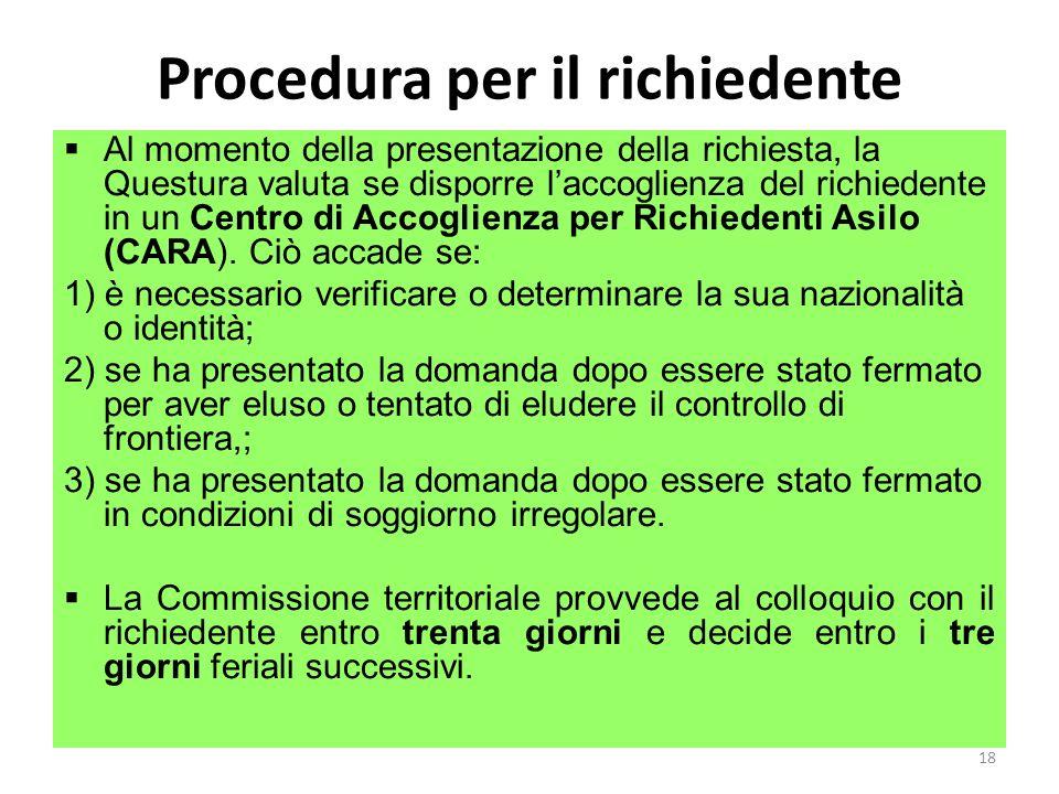 Procedura per il richiedente Al momento della presentazione della richiesta, la Questura valuta se disporre laccoglienza del richiedente in un Centro