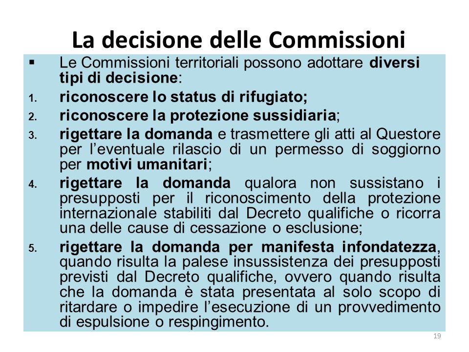 La decisione delle Commissioni Le Commissioni territoriali possono adottare diversi tipi di decisione: 1. riconoscere lo status di rifugiato; 2. ricon