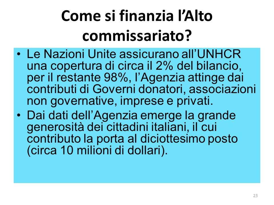 Come si finanzia lAlto commissariato? Le Nazioni Unite assicurano allUNHCR una copertura di circa il 2% del bilancio, per il restante 98%, lAgenzia at