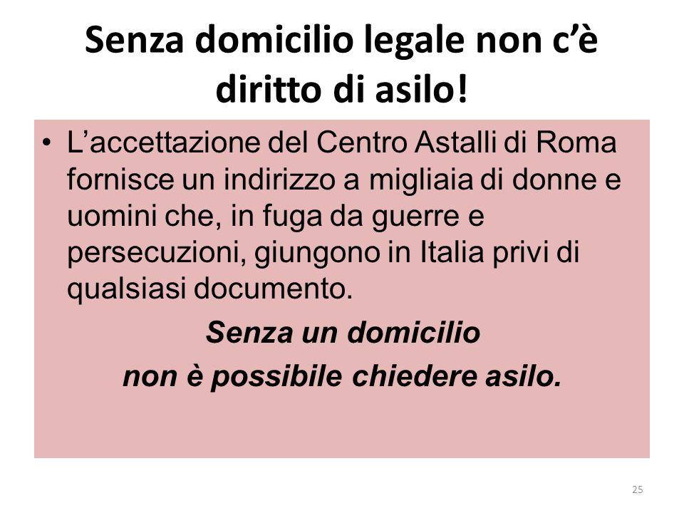 Senza domicilio legale non cè diritto di asilo! Laccettazione del Centro Astalli di Roma fornisce un indirizzo a migliaia di donne e uomini che, in fu