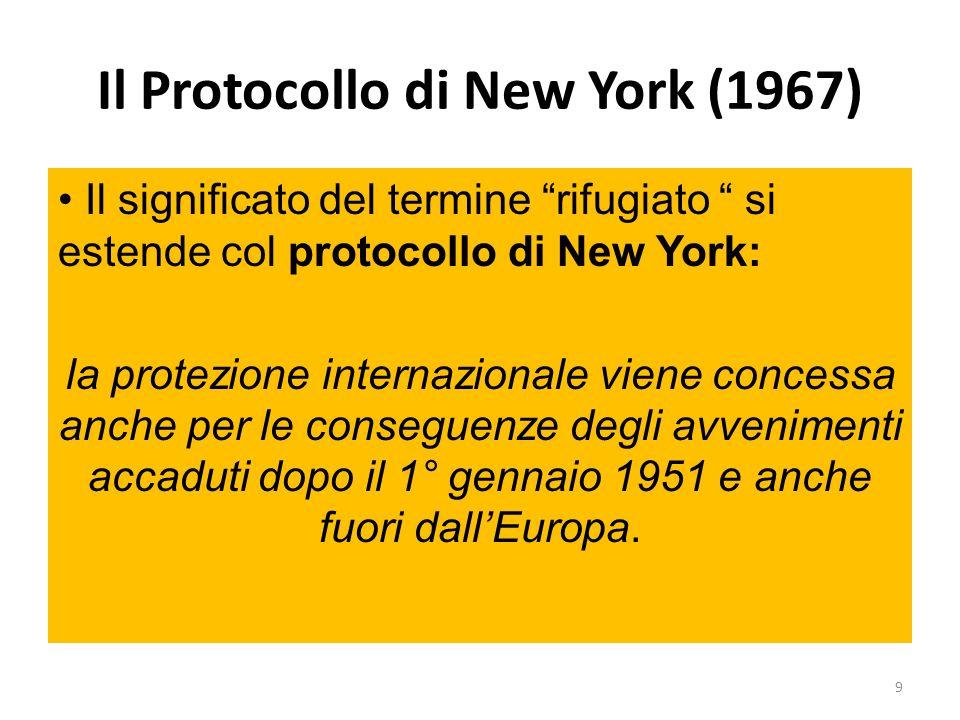 Il Protocollo di New York (1967) Il significato del termine rifugiato si estende col protocollo di New York: la protezione internazionale viene conces