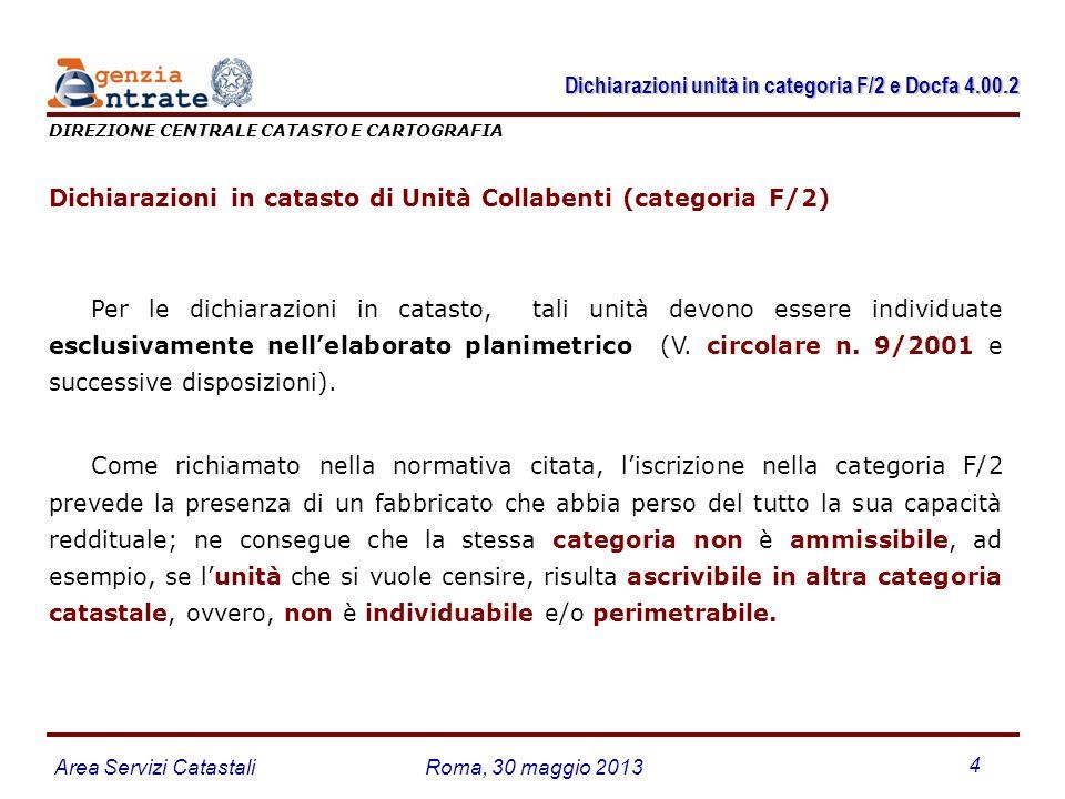 Area Servizi CatastaliRoma, 30 maggio 2013 4 Dichiarazioni in catasto di Unità Collabenti (categoria F/2) Per le dichiarazioni in catasto, tali unità