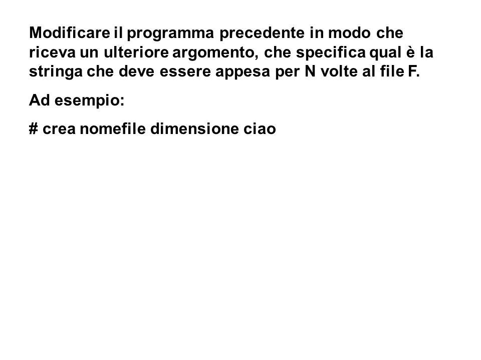 Modificare il programma precedente in modo che riceva un ulteriore argomento, che specifica qual è la stringa che deve essere appesa per N volte al file F.