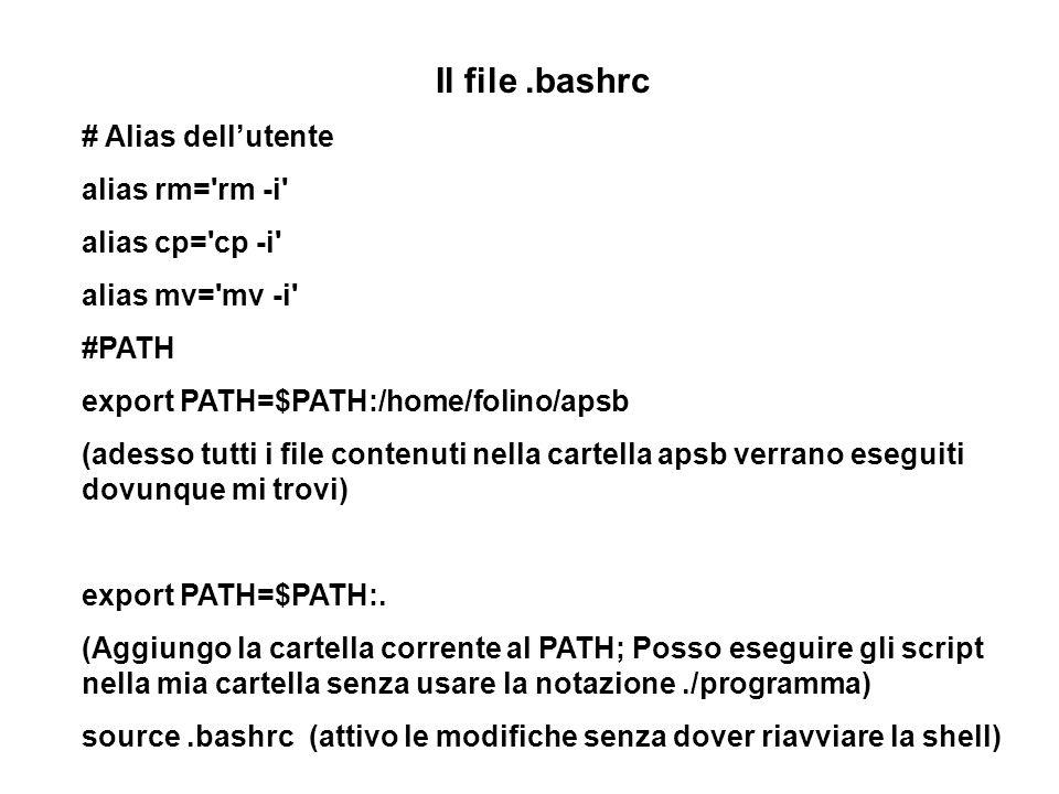 Il file.bashrc # Alias dellutente alias rm='rm -i' alias cp='cp -i' alias mv='mv -i' #PATH export PATH=$PATH:/home/folino/apsb (adesso tutti i file co