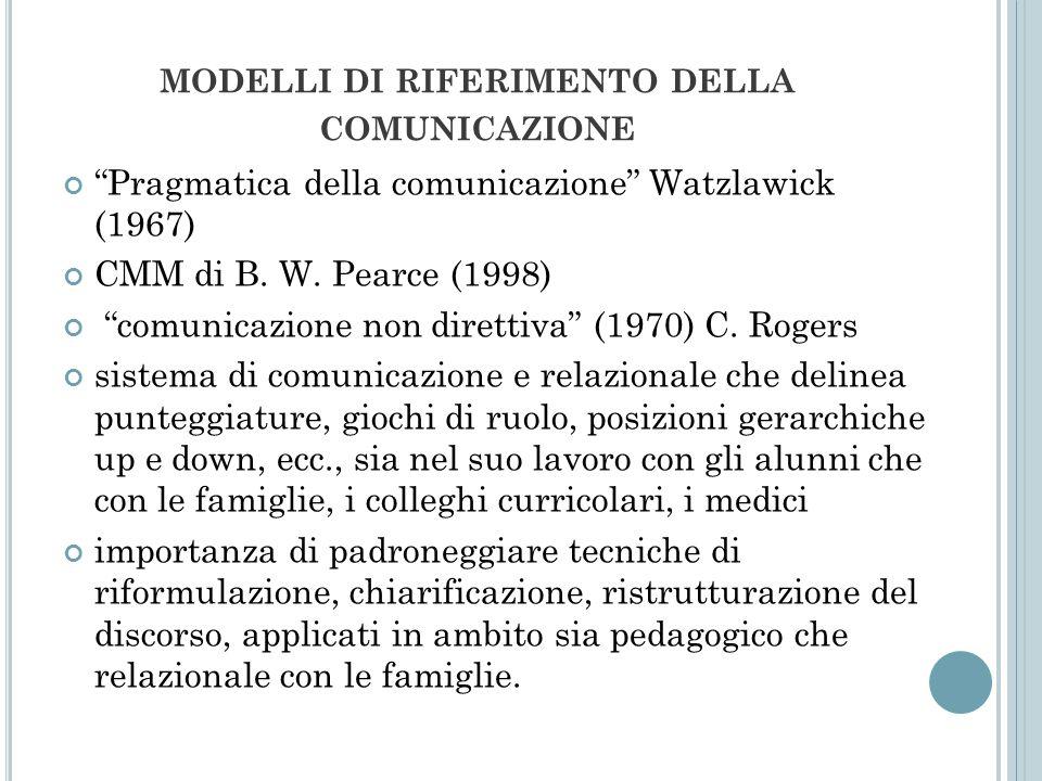 MODELLI DI RIFERIMENTO DELLA COMUNICAZIONE Pragmatica della comunicazione Watzlawick (1967) CMM di B. W. Pearce (1998) comunicazione non direttiva (19