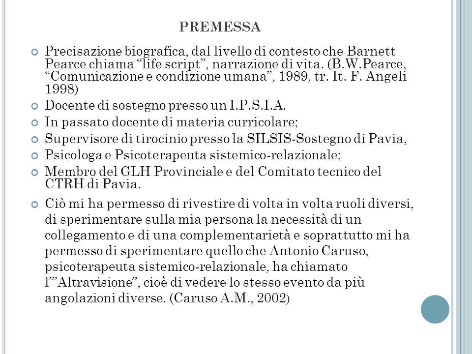 PREMESSA Precisazione biografica, dal livello di contesto che Barnett Pearce chiama life script, narrazione di vita. (B.W.Pearce, Comunicazione e cond