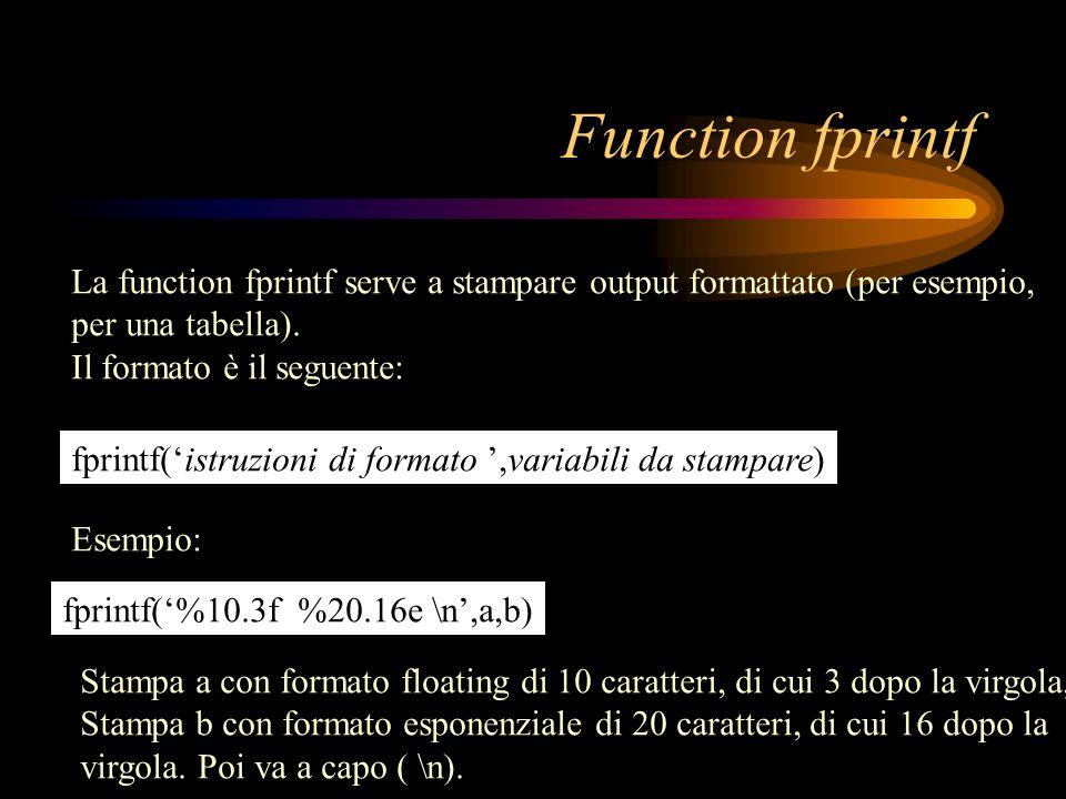 Function fprintf La function fprintf serve a stampare output formattato (per esempio, per una tabella). Il formato è il seguente: fprintf(istruzioni d