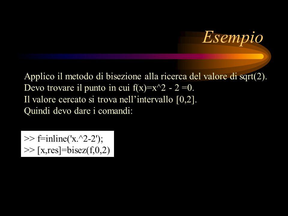 Esempio Applico il metodo di bisezione alla ricerca del valore di sqrt(2). Devo trovare il punto in cui f(x)=x^2 - 2 =0. Il valore cercato si trova ne