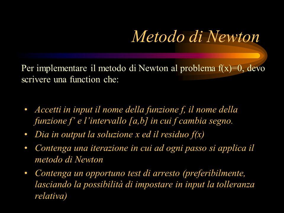 Metodo di Newton Accetti in input il nome della funzione f, il nome della funzione f e lintervallo [a,b] in cui f cambia segno. Dia in output la soluz