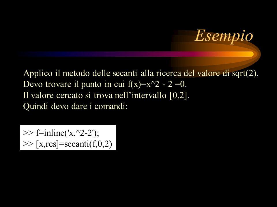 Esempio Applico il metodo delle secanti alla ricerca del valore di sqrt(2). Devo trovare il punto in cui f(x)=x^2 - 2 =0. Il valore cercato si trova n