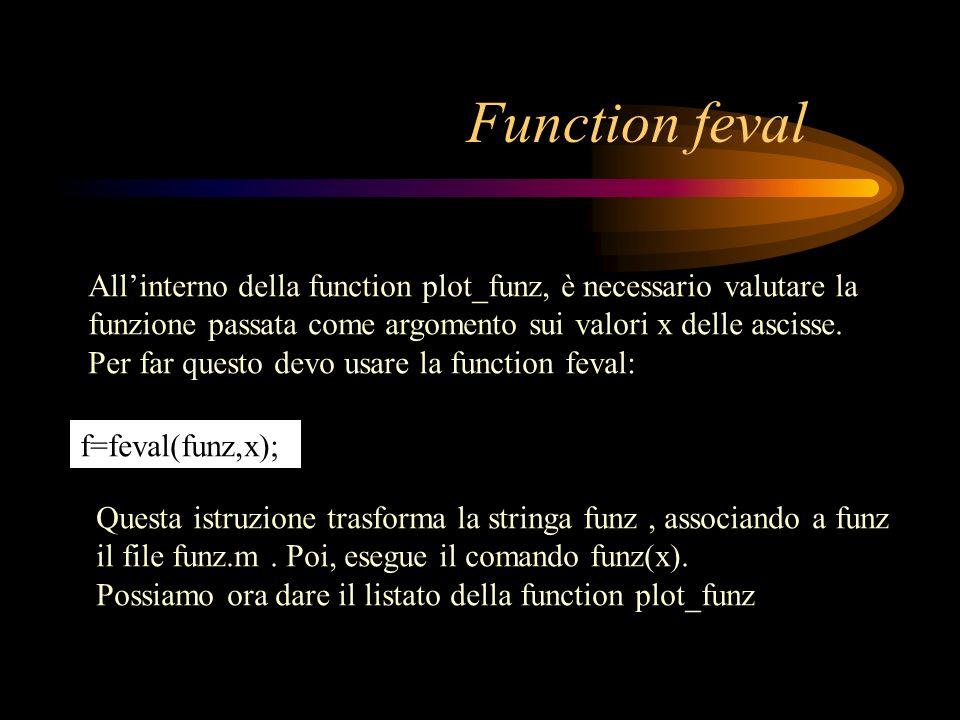 Iterazione principale: for iter=1:nmax fa = feval(funz,a); fb = feval(funz,b); if abs(fa) <= test x = a; res=abs(fa); return end den = fa-fb; if abs(den) > 10e-16 %evita di dividere per 0 xnew=(fa*b-fb*a)/den; else xnew = (a+b)/2; end fprintf( %2.0f: %20.16e %9.2e \n ,iter,xnew,abs(feval(funz,xnew))) b=a; a = xnew; end display( SECANTI richiede più di 100 iterazioni ) x=xnew; res=abs(feval(funz,xnew));