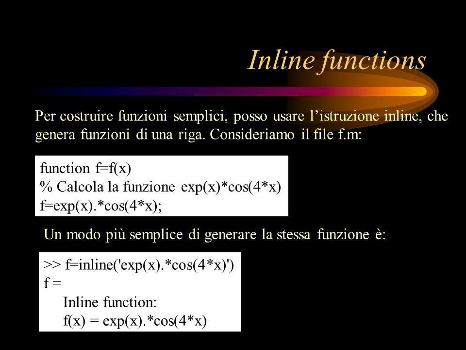 Function newton.m Riporto il listato della function newton.m, aggiungendo alcuni commenti function [x,res]=newton(funz,fder,a0,b0,toll) %NEWTON(FUNZ,FDER,A0,B0,TOLL) Calcola la radice X di FUNZ(X)=0 % nell intervallo [A0,B0] con il metodo di Newton.