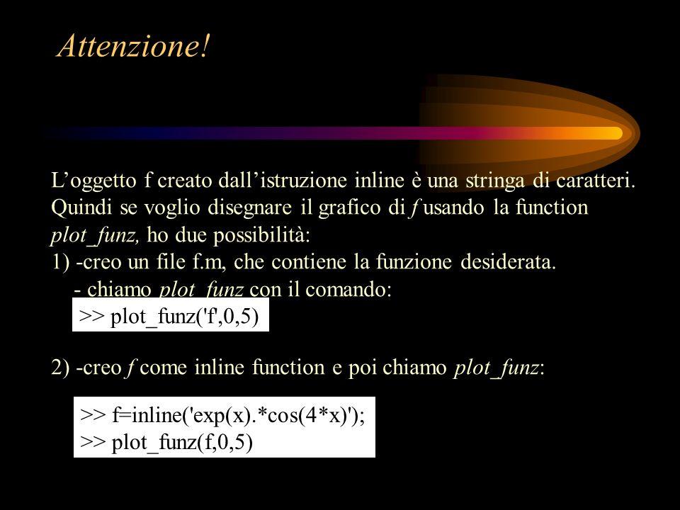 Fissa i valori iniziali e controlla se è presente uno zero in [a,b]: if nargin < 5, toll=eps; end fa0 = feval(funz,a0); fb0 = feval(funz,b0); fa0*fb0 if fa0*fb0 >= 0 fprintf( f non cambia segno in [a,b] \n ) return end test = ( abs(fa0)+abs(fb0) )*toll; nmax = 100;