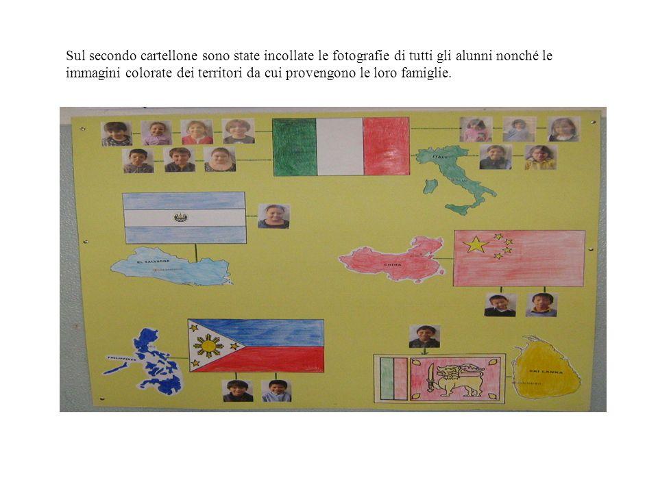 Sul secondo cartellone sono state incollate le fotografie di tutti gli alunni nonché le immagini colorate dei territori da cui provengono le loro fami
