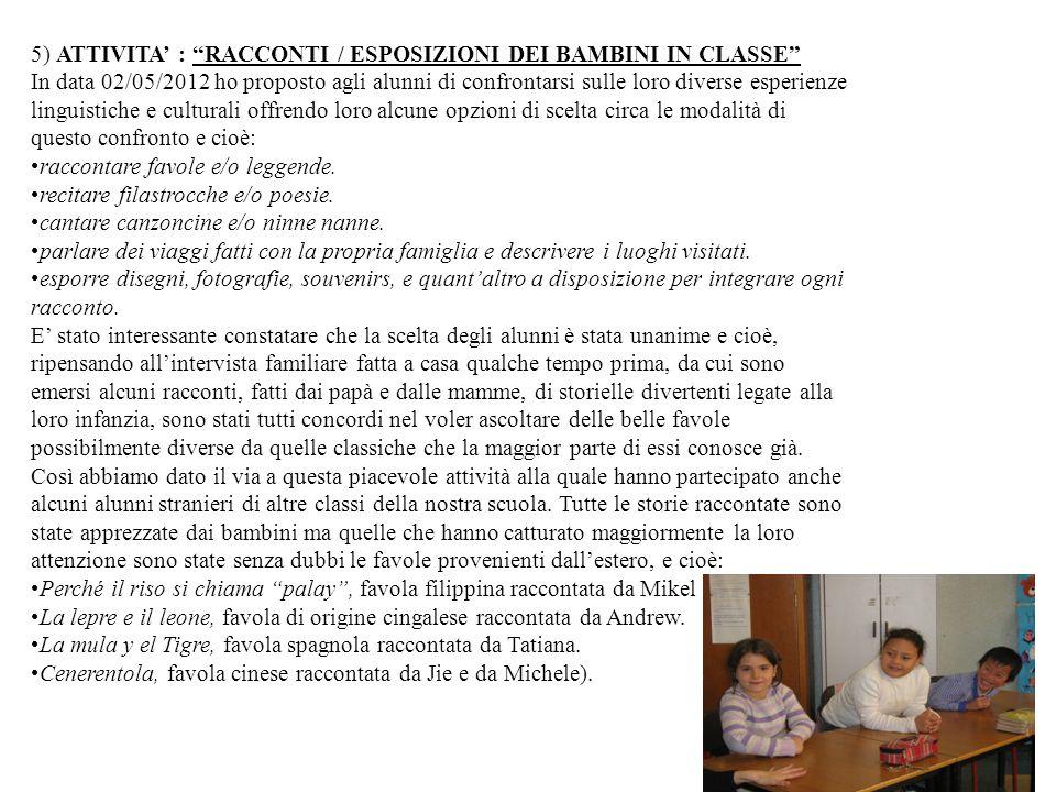 5) ATTIVITA : RACCONTI / ESPOSIZIONI DEI BAMBINI IN CLASSE In data 02/05/2012 ho proposto agli alunni di confrontarsi sulle loro diverse esperienze li