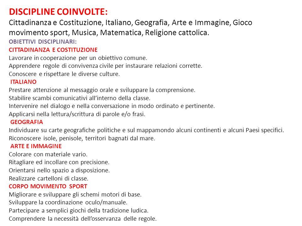 DISCIPLINE COINVOLTE: Cittadinanza e Costituzione, Italiano, Geografia, Arte e Immagine, Gioco movimento sport, Musica, Matematica, Religione cattolic